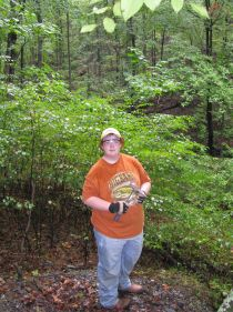 Me collecting at the Faber Lead Mine in Albemarle County, Virginia on September 27, 2008